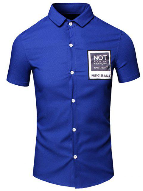 Men's Simple Turn-Down Collar Letter Printed Pocket Design Short Sleeves Shirt - BLUE XL