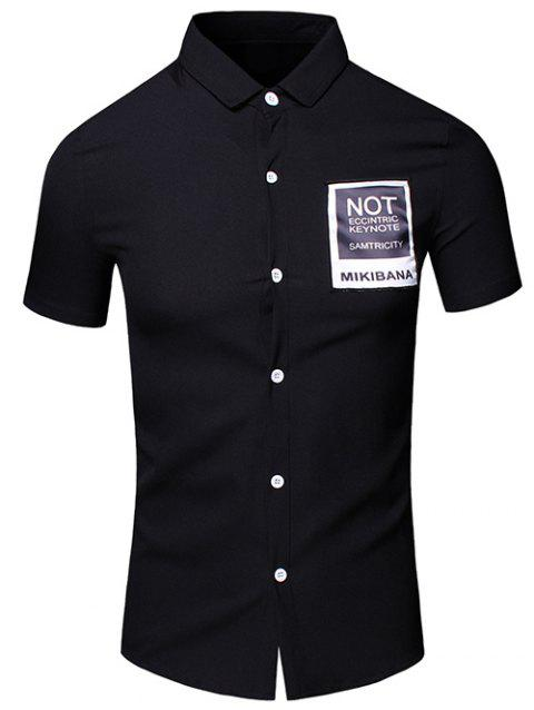 Men's Simple Turn-Down Collar Letter Printed Pocket Design Short Sleeves Shirt - BLACK 2XL