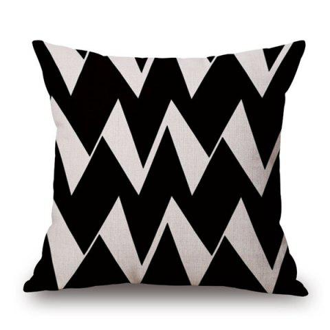 High Quality Cotton and Linen Ripple Geometric Pillowcase - WHITE/BLACK