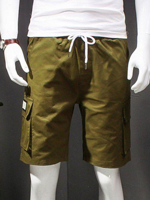 Letter Printed Straight Leg Multi-Pockets Shorts For Men - ARMY GREEN 2XL