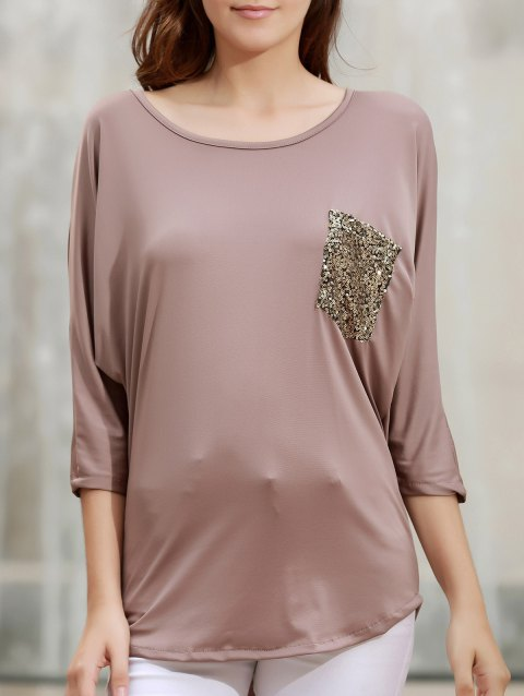 Stylish 3/4 Sleeve Scoop Neck Sequins Pocket Embellished Women's T-Shirt - BROWN L