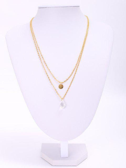 Stylish Waterdrop Double-Layered Women's Necklace - GOLDEN