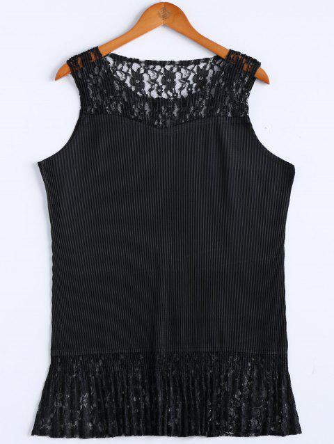 Alluring Flounced Sleeveless Lace Spliced Women's Dress - BLACK ONE SIZE(FIT SIZE XS TO M)