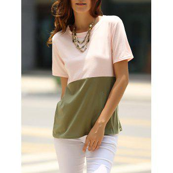 Brief Women's Round Neck Color Block T-Shirt