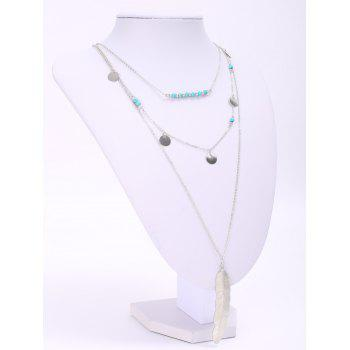 Faux Turquoise Sequins Leaf Layered Necklace - SILVER