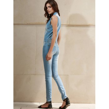 Stylish Women's Turn-Down Collar Sleeveless Bleach Wash Denim Jumpsuit - BLUE M