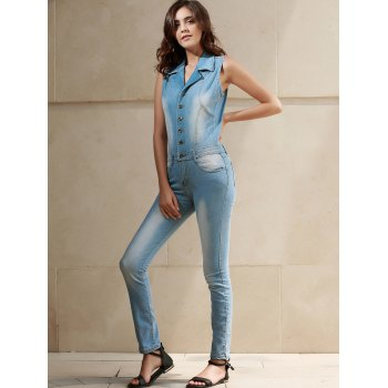Turn-Down Collar femmes élégantes manches Bleach Wash Denim Jumpsuit - Bleu M