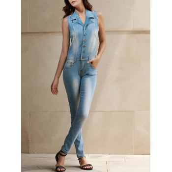 Stylish Women's Turn-Down Collar Sleeveless Bleach Wash Denim Jumpsuit - BLUE L