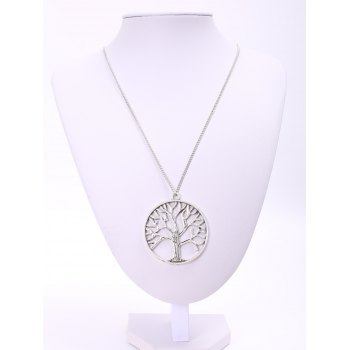 Trendy Solid Color Tree Shape Pendant Women's Sweater Chain Necklace