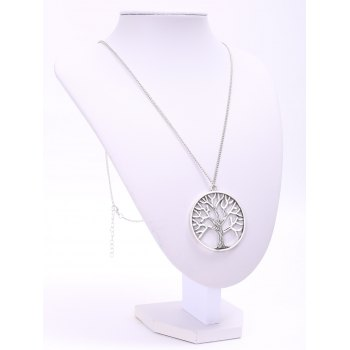 Trendy Solid Color Tree Shape Pendant Women's Sweater Chain Necklace -  SILVER