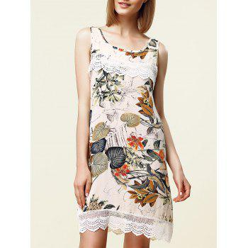 Sweet Sleeveless Floral Lace Embellished Women's Dress