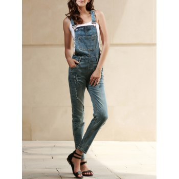 Fashionable Bleach Wash Pocket Denim Overalls For Women