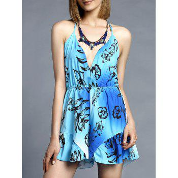 Sweet V-Neck Spaghetti Strap Floral Print Romper For Women