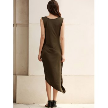 Trendy Sleeveless Solid Color Slit Asymmetric Wrap Pleated Plus Size Dress For Women - ARMY GREEN 2XL