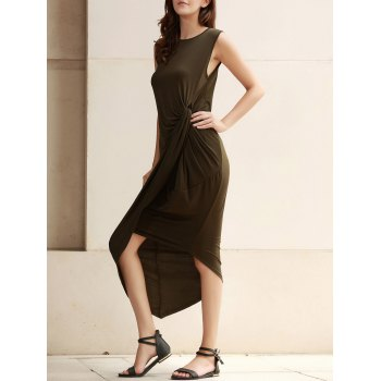 Trendy Sleeveless Solid Color Slit Asymmetric Wrap Pleated Plus Size Dress For Women