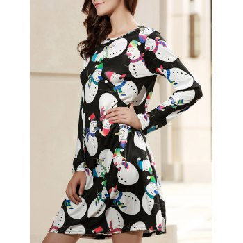 Sweet Long Sleeve Jewel Neck Snowman Print Women's Christmas Dress
