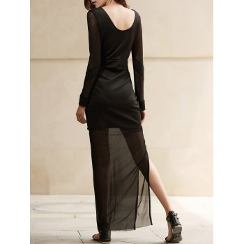 Sexy V-Neck Long Sleeve High Slit See-Through Women's Dress