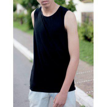 Lengthen Round Neck Sleeveless Side Zipper Design Men's Tank Top - BLACK XL