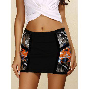 Trendy Zipper Design Sequins Embellished Skinny Women's Skirt