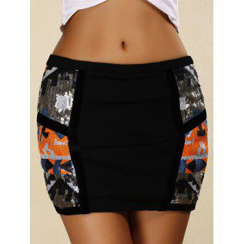 Trendy Zipper Design Sequins Embellished Skinny Women's Skirt - BLACK L