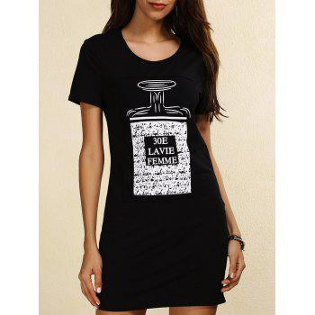 Trendy Short Sleeve Scoop Neck Skinny Slimming Letter Print Women's Dress