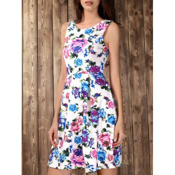 Retro Style Floral Print High Waisted Dress
