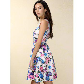 Retro Style Floral Print High Waisted Dress - WHITE S