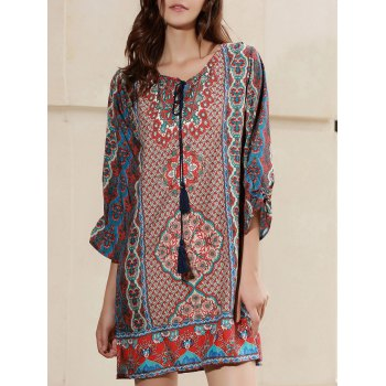 Ethnic Women's V-Neck 3/4 Sleeve Printed Dress