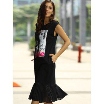 Les femmes à la mode d  'Jewel Neck Motif Fille Tank Dress Fishtail - Noir ONE SIZE(FIT SIZE XS TO M)