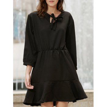Stylish Bow Tie Collar 3/4 Sleeve Flounced Solid Color Women's Dress - BLACK XL