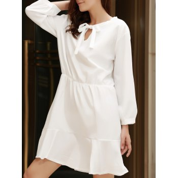 Stylish Bow Tie Collar 3/4 Sleeve Flounced Solid Color Women's Dress