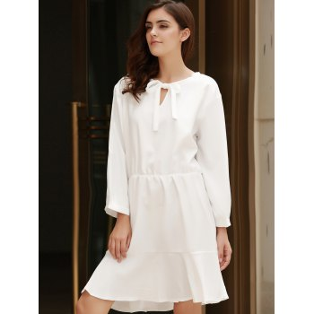Stylish Bow Tie Collar 3/4 Sleeve Flounced Solid Color Women's Dress - OFF WHITE OFF WHITE