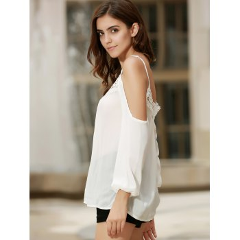Sexy Women's Strappy Hollow Out Lace Splicing  Long Sleeve Blouse - WHITE WHITE