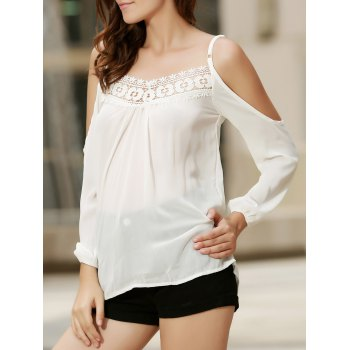 Sexy Women's Strappy Hollow Out Lace Splicing  Long Sleeve Blouse - White - M