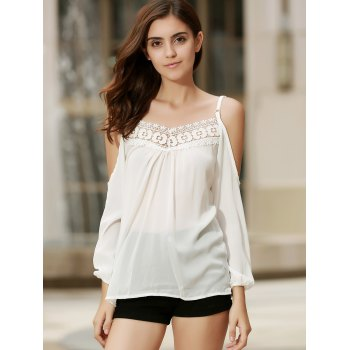 Sexy Women's Strappy Hollow Out Lace Splicing  Long Sleeve Blouse - M M