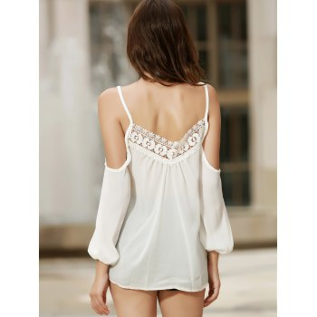 Sexy Women's Strappy Hollow Out Lace Splicing  Long Sleeve Blouse - WHITE XL