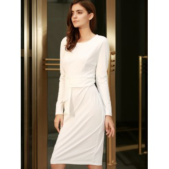 Chic Round Collar Long Sleeve Bodycon Pure Color Women's Dress - WHITE L