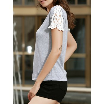 Sweet Cut Out Lace Splicing Short Sleeve T-Shirt For Women