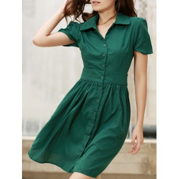 Vintage Turn-Down Collar Short Sleeve Lace-Up Single-Breasted Women's Dress