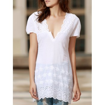 Sexy Plunging Neck Short Sleeve Solid Color Laciness Women's Dress