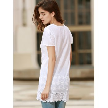 Sexy Plunging Neck Short Sleeve Solid Color Laciness Women's Dress - WHITE L