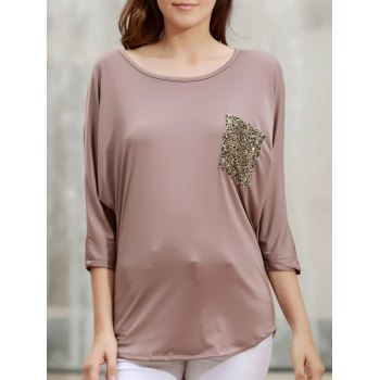Stylish 3/4 Sleeve Scoop Neck Sequins Pocket Embellished Women's T-Shirt