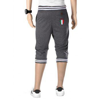 Vogue Beam Feet Letters Pattern Rib Spliced Men's Lace-Up Capri Pants Jogger Shorts - GREY/WHITE M
