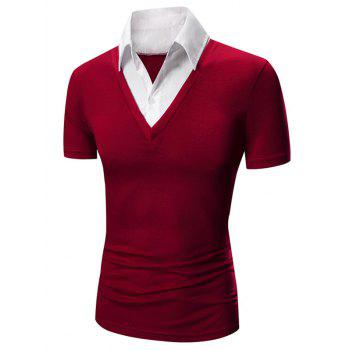 Faux Twinset Shirt Collar Color Block Short Sleeves Men's Polo T-Shirt - RED RED