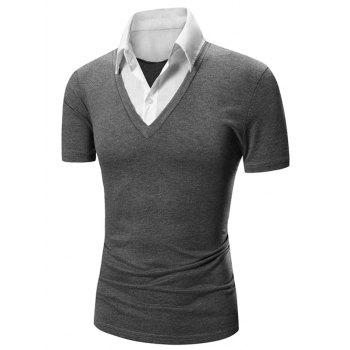 Faux Twinset Shirt Collar Color Block Short Sleeves Men's Polo T-Shirt - DEEP GRAY DEEP GRAY