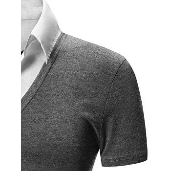 Faux Twinset Shirt Collar Color Block Short Sleeves Men's Polo T-Shirt - DEEP GRAY 2XL