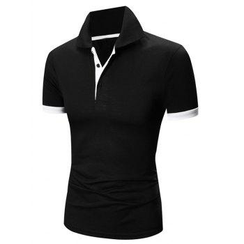 Laconic Turn-down Collar Color Block Short Sleeves Men's Polo T-Shirt - WHITE AND BLACK WHITE/BLACK