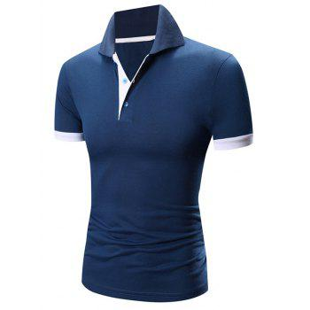 Laconic Turn-down Collar Color Block Short Sleeves Men's Polo T-Shirt - SAPPHIRE BLUE SAPPHIRE BLUE