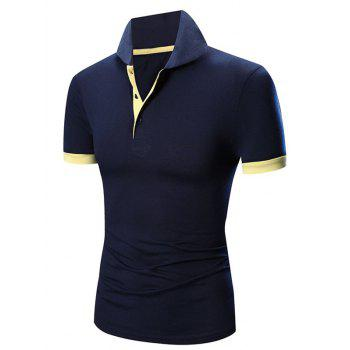 Laconic Turn-down Collar Color Block Short Sleeves Men's Polo T-Shirt - CADETBLUE M