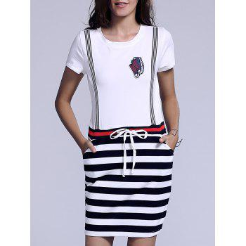 Casual Women's Jewel Neck Striped Drawstring Short Sleeves Dress